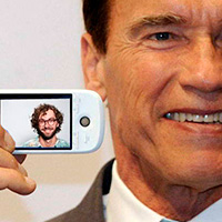 Arnold Schwarzenegger with mobile